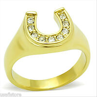 Horse Shoe 18kt Gold Ep Stainless Steel Lucky Unisex Ring
