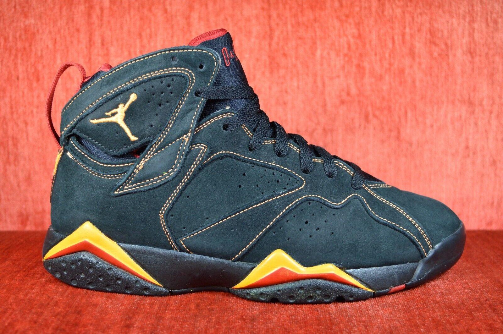"CLEAN 2006 Air Jordan VII 7  Citrus"" Size 8 BLACK SUEDE 304775 081"