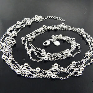 Necklace-Pendant-Chain-Real-925-Sterling-Silver-S-F-Antique-Bead-Strand-Design
