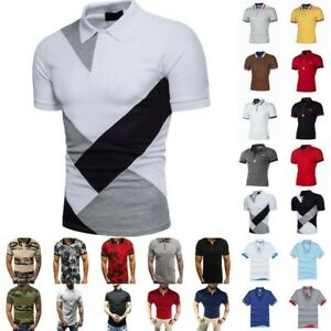 Mens-Polo-Shirts-Summer-Short-Sleeve-Slim-Fit-T-Shirt-Golf-Sport-Casual-Tee-Tops