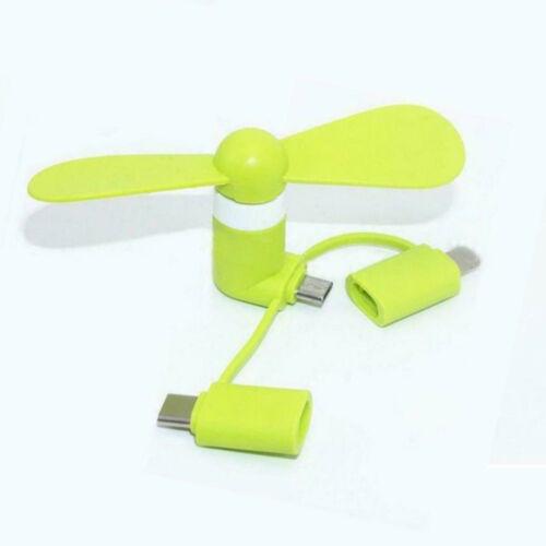 3 in 1 Mini Portatile Micro USB tipo-C LIGHTNING VENTOLA DI RAFFREDDAMENTO PER IPHONE SAMSUNG