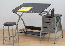 Artist Drafting Table Adjustable Angle Architect Black Stool Drawers Desk  Office