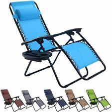 Folding Zero Gravity Reclining Lounge Chair Outdoor Beach Patio W/Utility Tray