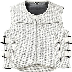 Cuir-veritable-Blanc-Moto-Gilet-Reglable-Double-courroies-laterales-perforees