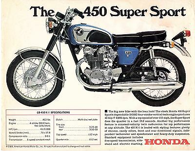 1968 Honda CB- 450 Super Sport motorcycle sales brochure, (Reprint) $6 50 |  eBay