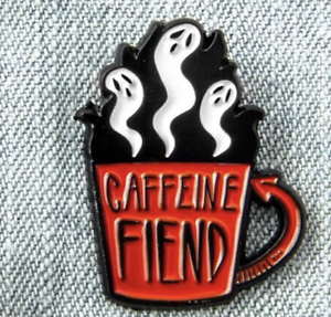 caffeine fiend ghost enamel pin badge coffee cup