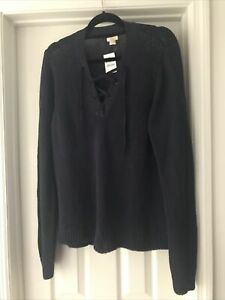 NWT J Crew Womens Stylish Tie Up  V Neck sweater Navy  Size XL