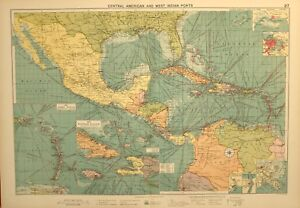 Details about 1927 LARGE MERCANTILE MARINE MAP CENTRAL AMERICAN WEST INDIAN  PORTS WINDWARD