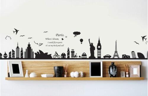 Wandtattoo Sehenswürdigkeiten der Welt Sticker Rom USA Paris London Spruch  9124