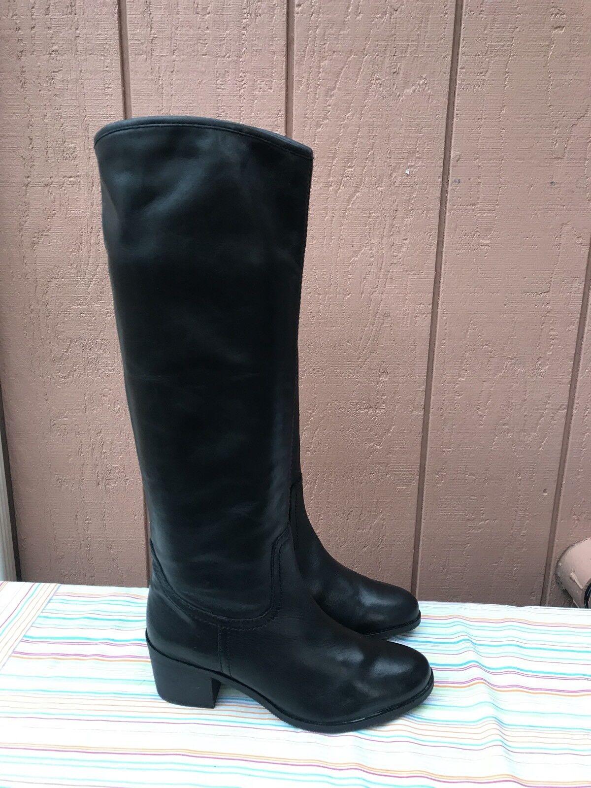 Nuevo Sam Edelman Loren Mujer Talle Us Us Us 7.5 M de Carbono Cuero Negro botas Hasta La Rodilla  apresurado a ver