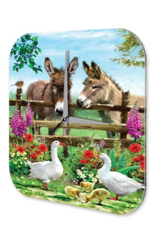 Decorative Wall Clock Vet Practice  Donkeys and geese Acryl Acrylglass