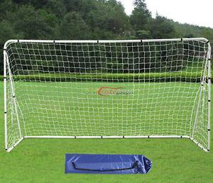 White-12-x-6-Football-Soccer-Goals-Anchor-Ball-Training-Sets-W-Net-Straps