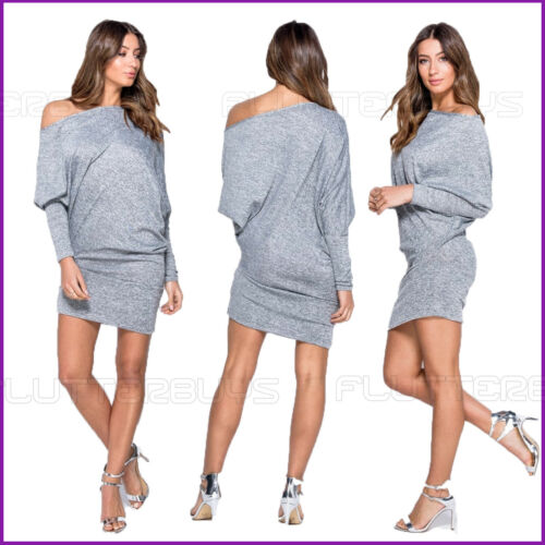 Gris Nouvelle Robe Une Épaule Nue Long Top Asymétrique Gris Femme Femme Mini Shirt