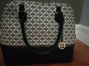 Iman Global Chic Logo Print Dome Satchel (BLACK) with IVORY upper with logo