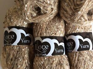 Job Lot 5 x 100g balls soft eyelash type knitting/crochet/craft yarn Beige