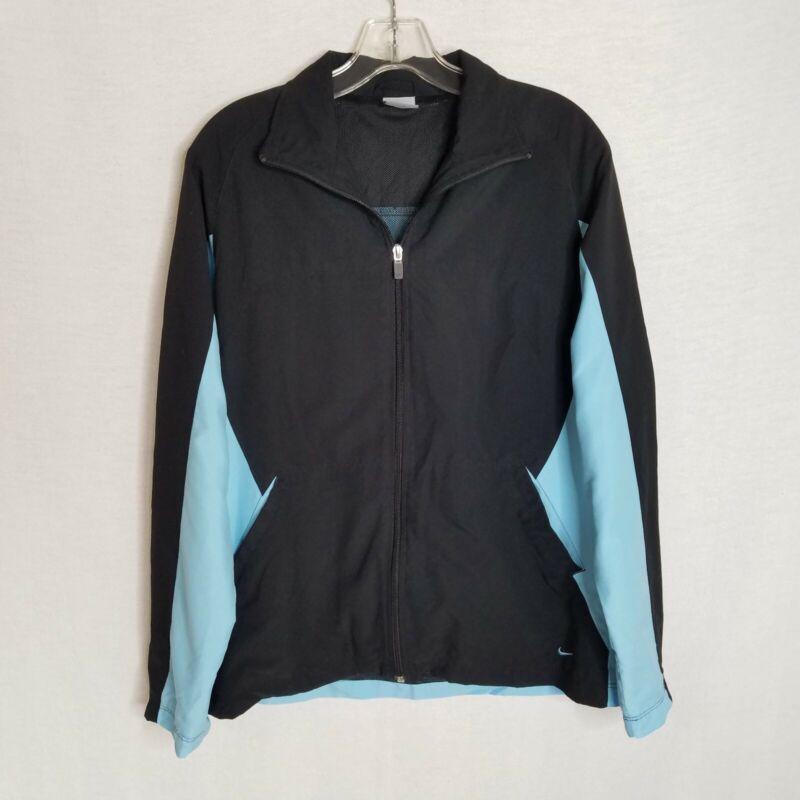 Open-Minded Nike Womens Black Blue Full Zip Lightweight Wind Jacket Size Medium 8-10 Tp902