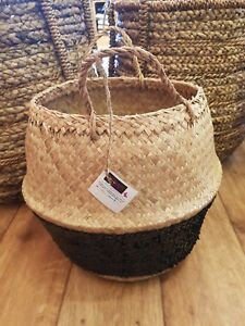 Black-Sequin-Belly-Basket-Seagrass-Planter-Toy-or-Laundry-Basket-Toulouse-Plante