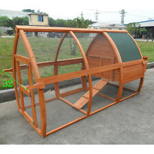 "DELUXE 94"" ARC ROOF Rabbit Hutch Poultry Bunny Chicken Coop Guinea Pig Ferret"