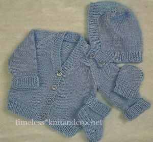 VINTAGE KNITTING PATTERN PREMATURE BABY HAT, MITTENS, BOOTEES, CARDIGAN 14-16...