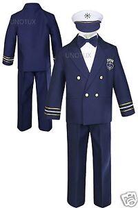 bfe9581dacae Baby Boy Toddler Wedding Formal Party Captain Navy Blue Sailor ...