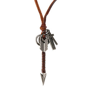 Vintage-Arrow-Cross-Men-039-s-Pendant-Necklace-with-Brown-Leather-Cord-Adjustable