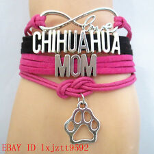 Infinity Love CHIHUAHUA M0M paw charm bracelet Handmade friendship Bracelets