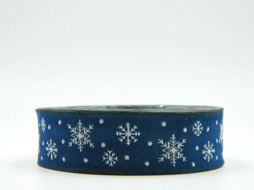 10m cenefa tejidos//webband copo de nieve 16mm de ancho Navy//blanco 0,69 €//m