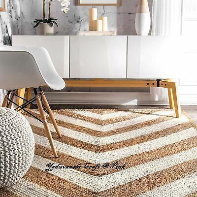 Natural Floor Reversible Handmade Indian Cotton Decorative Carpet Jute Rag Rugs Ebay