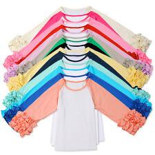 Baby Girls Toddler Raglan Ruffle Shirt Baseball Blank T-Shirt Icing Ruffled Top