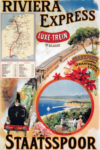 TX90 Vintage Riviera Express Staatsspoor Railway Travel Poster A1//A2//A3