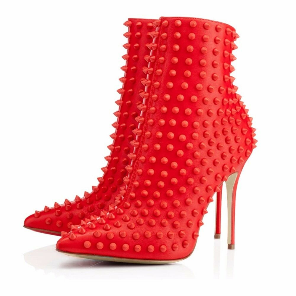 Autumn Winter Women Pointed Toe High Heel Ankle Boots Rivets Booties Black Red