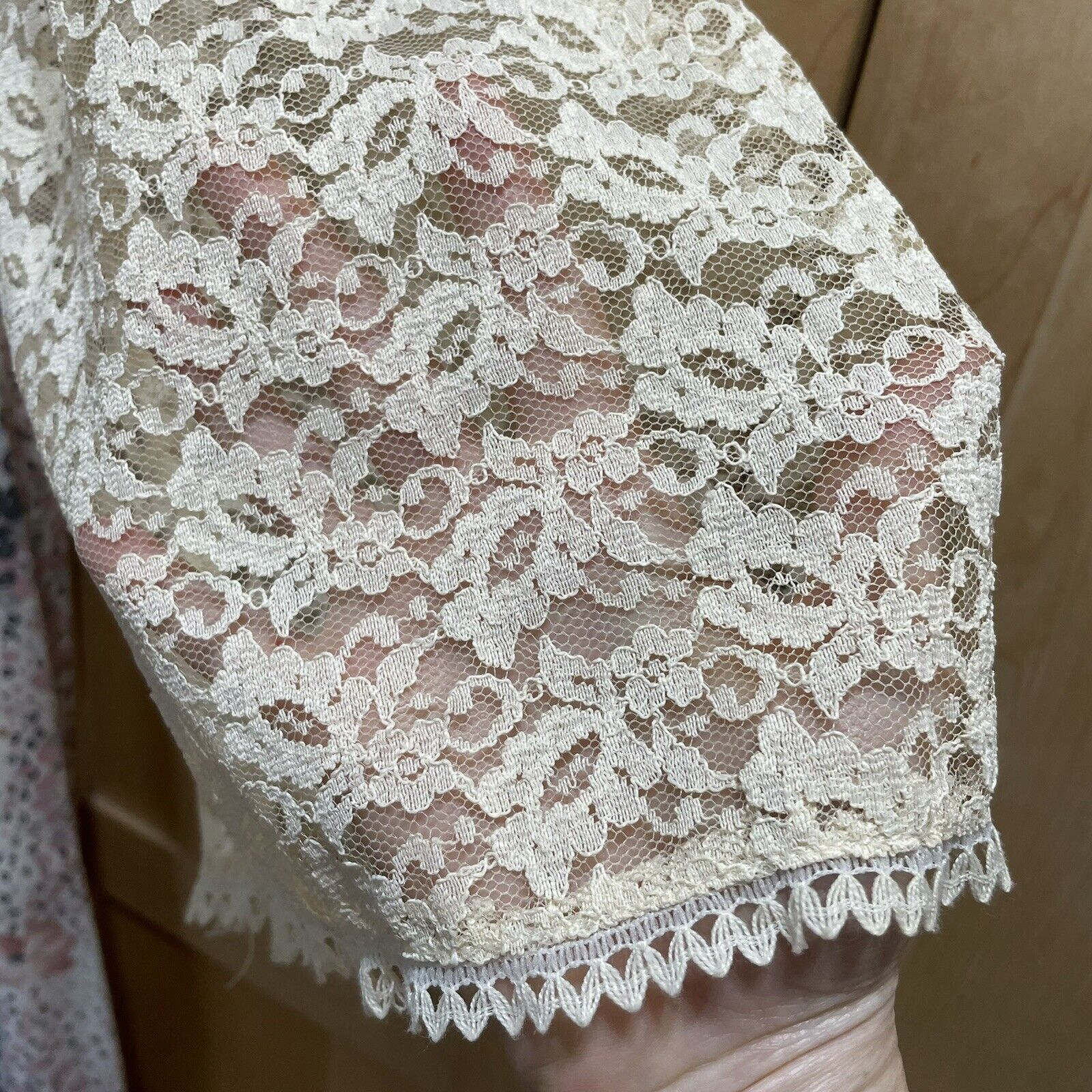 Vintage 70s Floral Maxi Dress Lace Sleeves Fairyc… - image 10