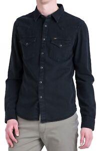 Nueva-camisa-para-hombre-Western-Denim-Lee-Nuevas-camisas-de-jean-negro-para-hombre-Slim-Fit