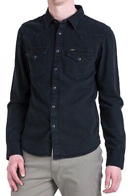LEE New Mens Western Denim Shirt New Men's Black Jean Shirts Slim Fit