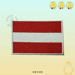 Austria National Flag Embroidered Iron On Sew On Patch Badge For Clothes Etc