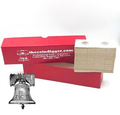 9x2x2 Red Storage Box w// 100 Small Dollar Paper Coin Holders//Flips by Guardhouse