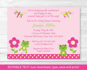 Details About Girl Frog Dragonfly Garden Printable Baby Shower Invitation EDITABLE PDF