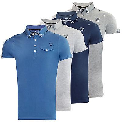 Mens Branded Fire Trap Designer Collar Pocket Cotton T-Shirt Button Top