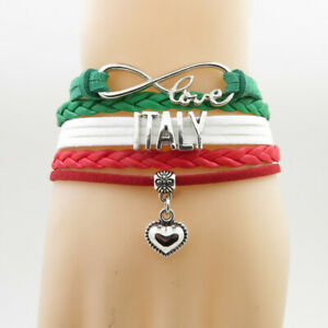 Raisonnable Hot Infinity Love Pays Italie Bracelet Coeur Charme Cuir Wrap Hommes Bracelets-afficher Le Titre D'origine