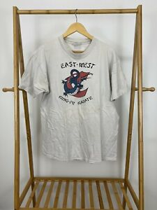 VTG-80s-East-West-Kung-Fu-Karate-Short-Sleeve-Single-Stitch-T-Shirt-Size-XL-USA