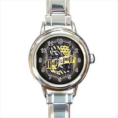 NEW*HOT HARRY POTTER HUFFLEPUFF HOGWARTS SCHOOL Round Italian Charm Wrist Watch
