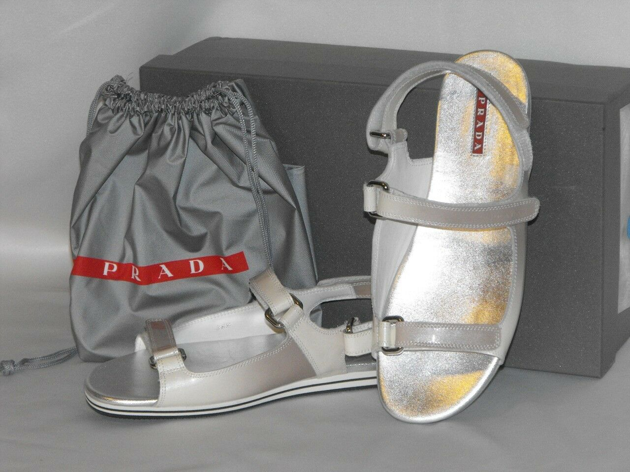 PRADA PATENT OMBRE FUME LEATHER FLATS TWO TONES GLADIATOR LOGO SANDALS 36.5