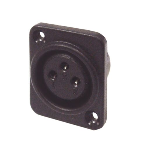 BLACK 3 PIN XLR CHASSIS SOCKET WITH SOLDER TERMINALS