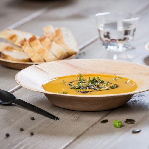 Palmblatt Geschirr Teller tief Suppenteller Schale rund Bio Einweggeschirr