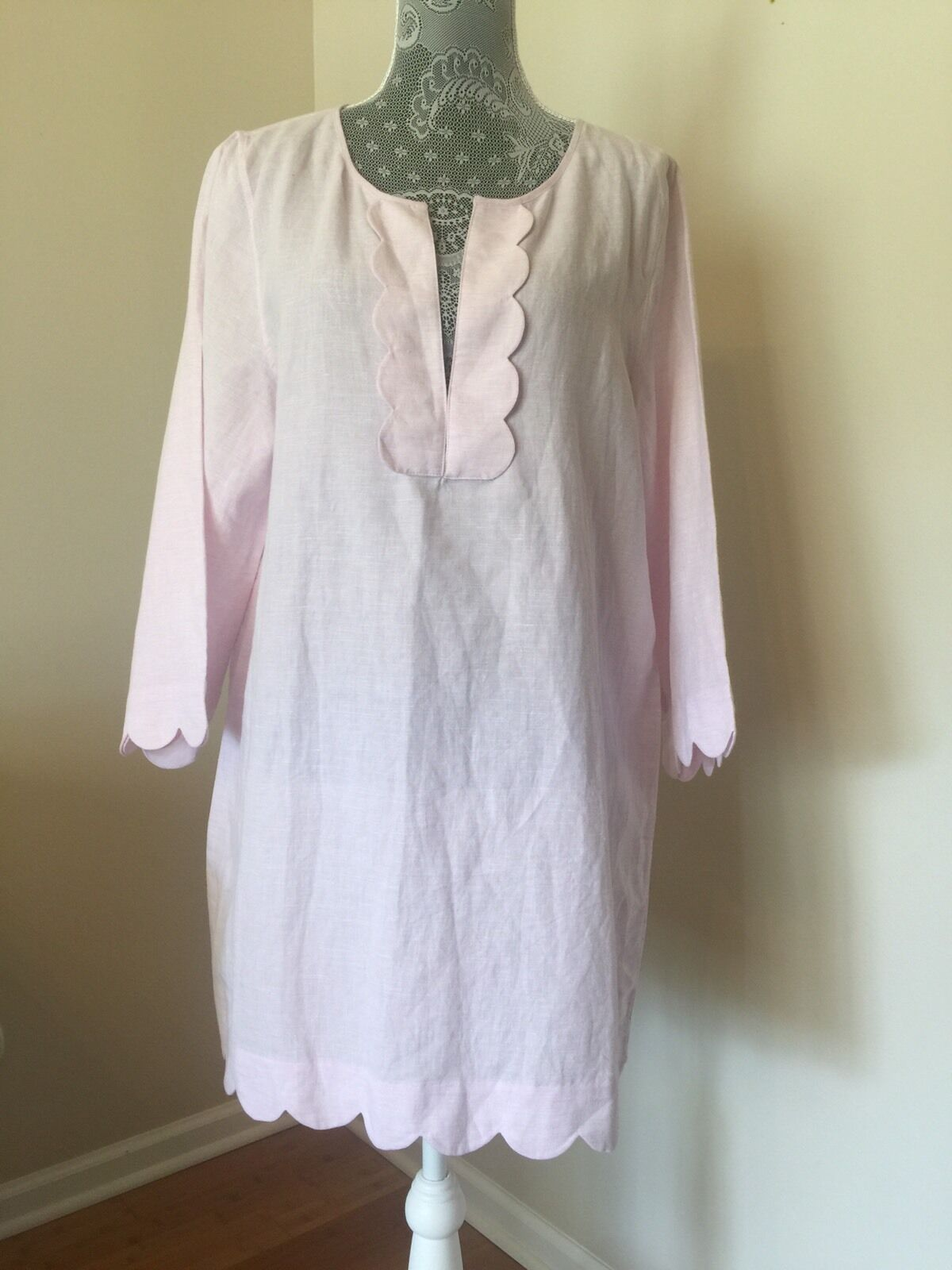 NWT JCREW Scalloped tunic Cover Up Rosa Petal Größe L G5157 SU 17 Sold Out