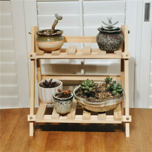 2Tier-Pine-Wooden-Plant-Stand-Indoor-Outdoor-Planter-Flower-Pot-Shelf-35-35-17cm