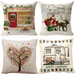 image is loading cotton linen square throw pillow case christmas decorative - Christmas Decorative Pillow Covers