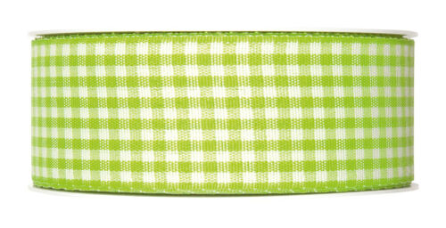 """1.5/"""" Full 25m roll Made in Germany Lime Green Gingham ribbon check fabric 40mm"""