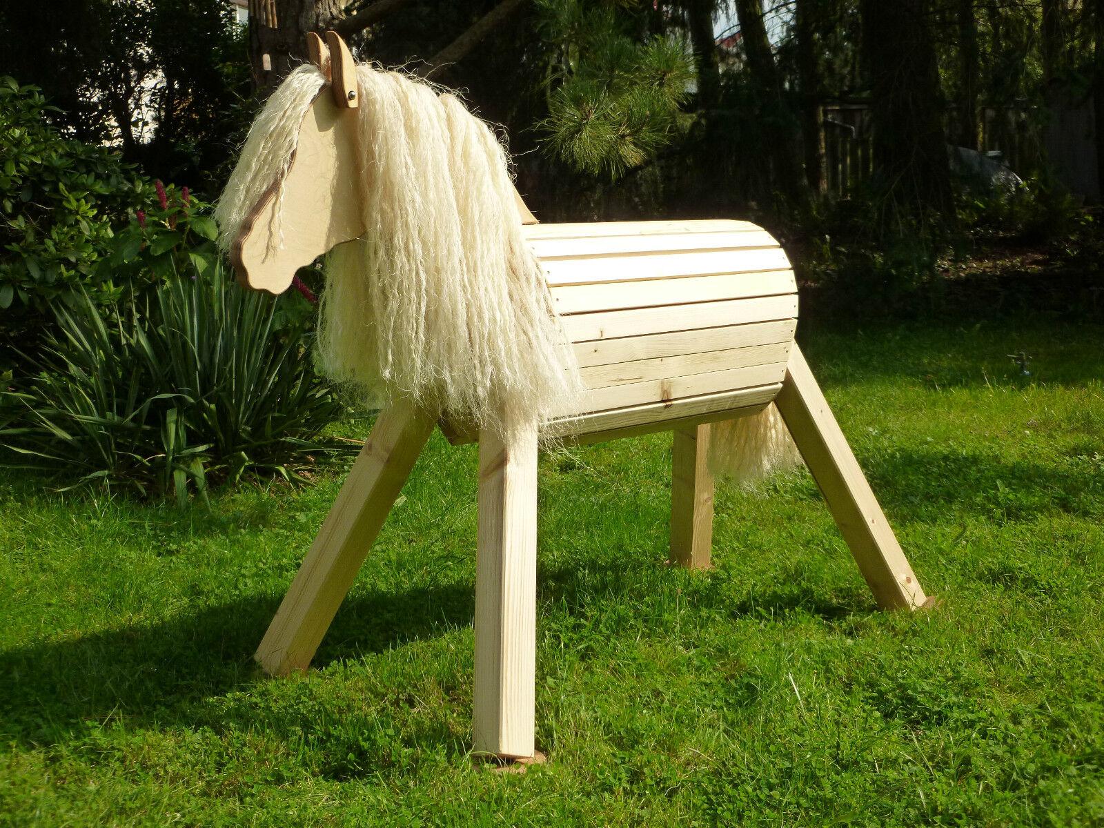 85cm Holzpferd Holzpony Voltigierpferd  Pferd Pony unlasiert Unikat BIO