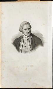 Retrato (1835) - James Cook - Navegador Y Explorer - Grabado
